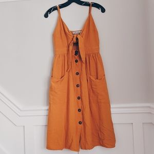 LUCY WANG ORANGE FRONT TIE BUTTON UP MIDI DRESS